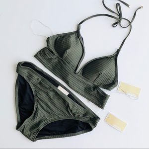 Michael Kors Cruise 2019 olive green bikini set
